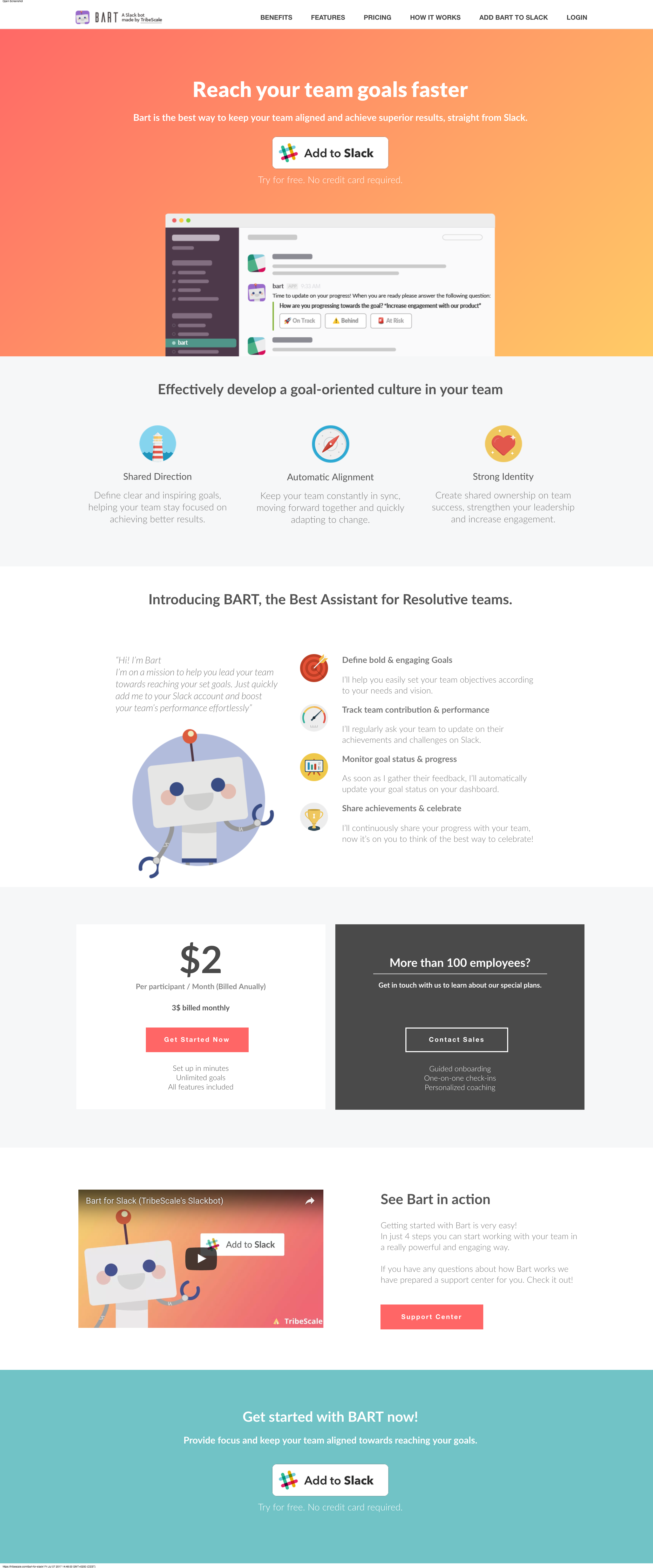 Bart for slack - Tribescale - Landing Page- Copywriting